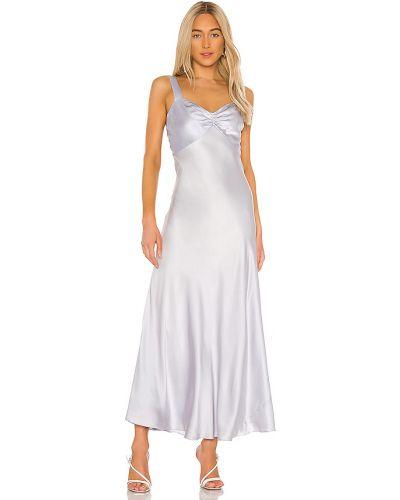 Fioletowa satynowa sukienka z falbanami Dannijo