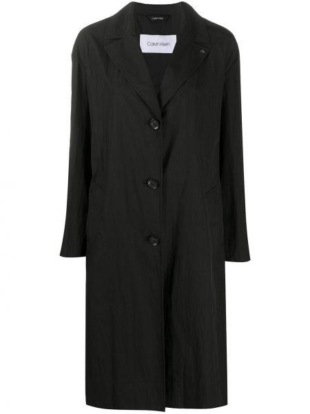 Черное длинное пальто с воротником с карманами Calvin Klein