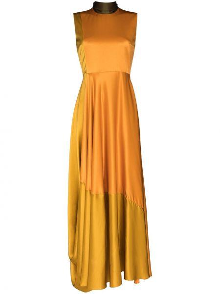 Pomarańczowa sukienka rozkloszowana z jedwabiu Roksanda