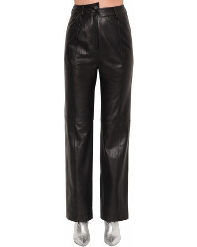 Czarne spodnie z wysokim stanem skorzane Annakiki