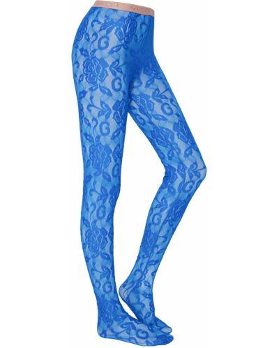 Колготки с цветочным принтом синий Gucci