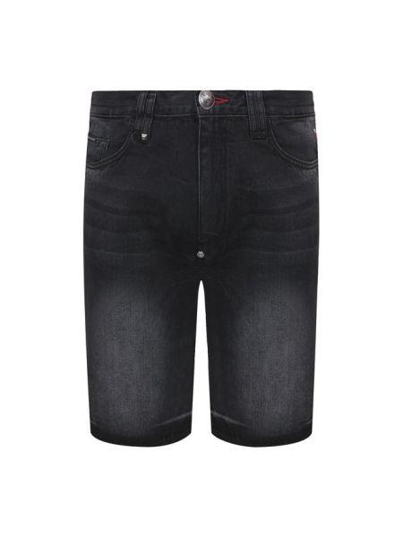 Серые джинсовые шорты из овчины Philipp Plein