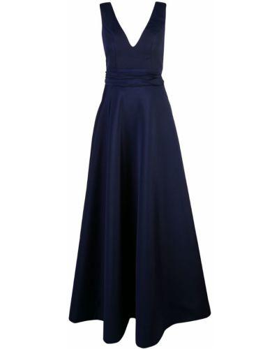 Синее расклешенное приталенное вечернее платье на молнии Nha Khanh