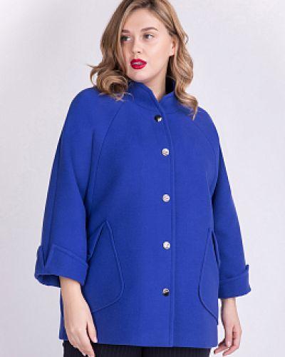 Синее шерстяное пальто с воротником Electrastyle
