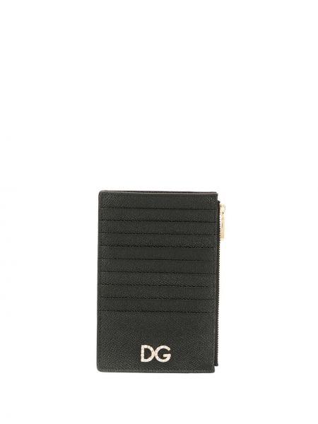 Кожаный кошелек черный золотой Dolce & Gabbana