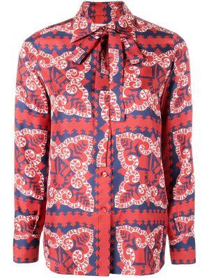 Шелковая красная классическая рубашка с воротником Valentino