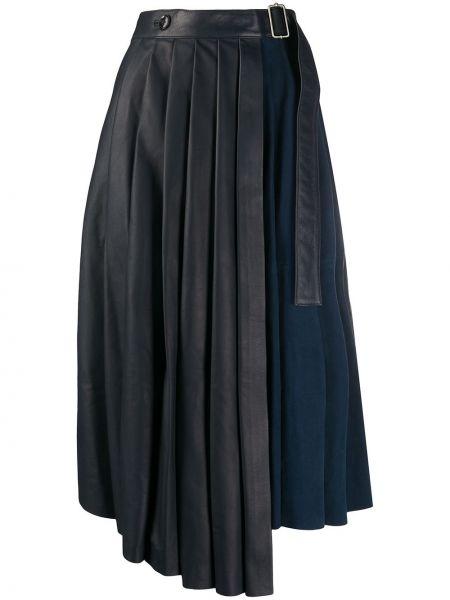 Свободная синяя кожаная юбка Paul Smith