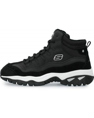 Кожаные черные высокие кроссовки на шнуровке Skechers