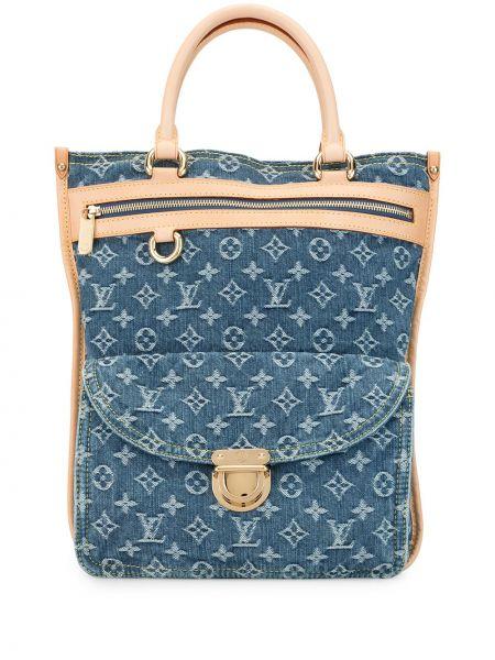 Синяя парусиновая сумка-тоут круглая на молнии Louis Vuitton
