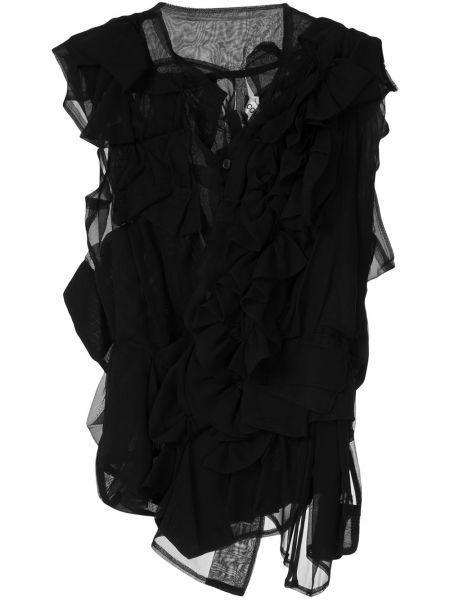 Черная блузка без рукавов с оборками прозрачная винтажная Comme Des Garçons Pre-owned