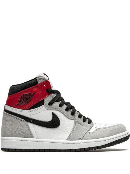 Серые кожаные высокие кроссовки на шнуровке Jordan
