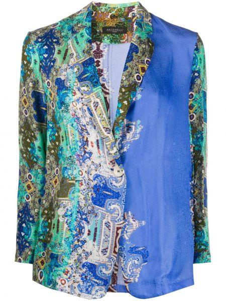 Шелковый синий пиджак на пуговицах Antonelli