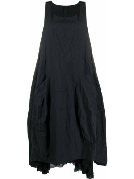 Черное платье оверсайз без рукавов с вырезом Rundholz