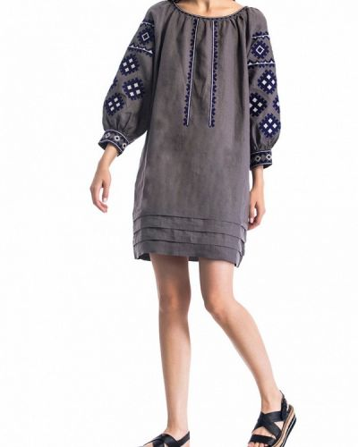 Серое повседневное платье Etnodim