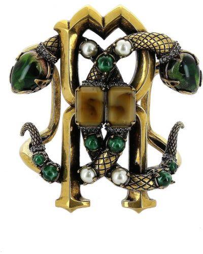 Золотой браслет с жемчугом с камнями Roberto Cavalli