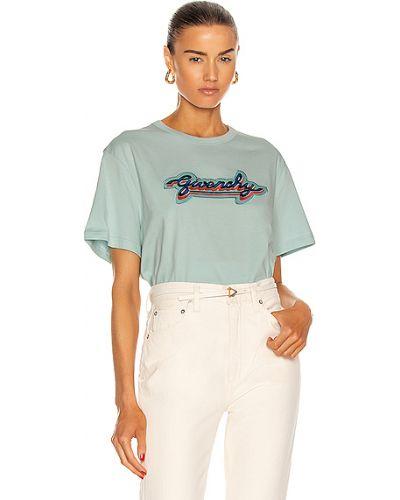 Niebieska koszula krótki rękaw z haftem Givenchy