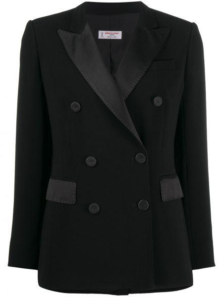 Черный приталенный классический пиджак двубортный Alberto Biani