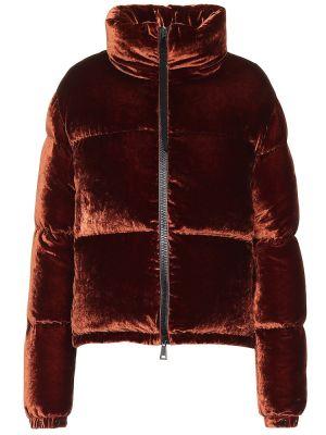 Зимняя куртка бархатная коричневая Moncler