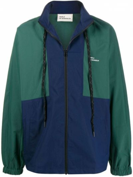 Zielona długa kurtka z długimi rękawami Drole De Monsieur