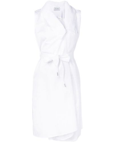 Блузка без рукавов с воротником с поясом на пуговицах без рукавов Balossa White Shirt