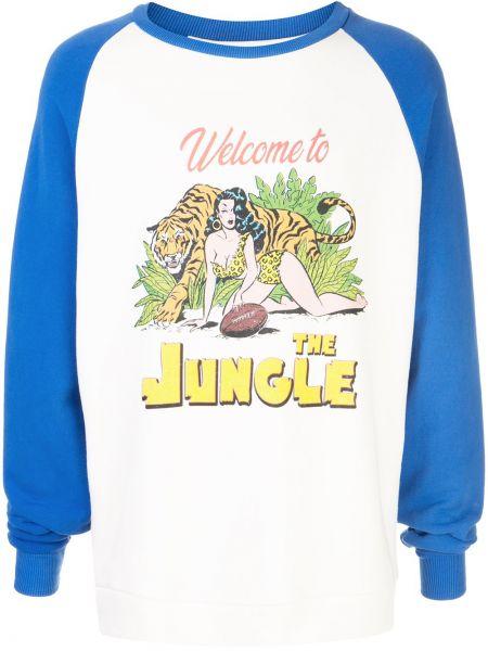 Niebieski sweter z haftem bawełniany Just Don