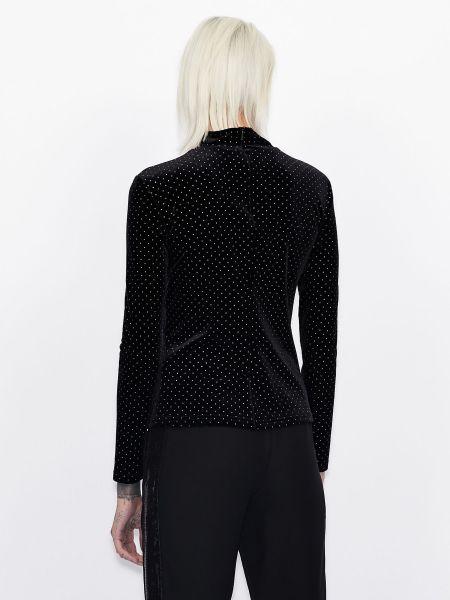 С рукавами черная блузка со вставками Armani Exchange