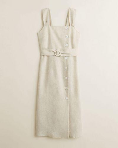 Платье миди однотонное с поясом Mango
