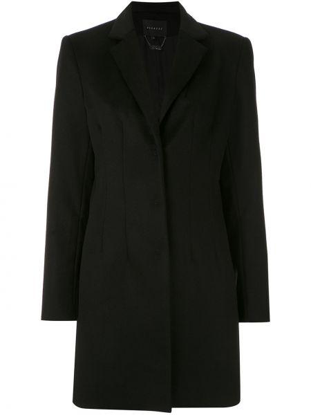 Прямое черное длинное пальто с капюшоном Alcaçuz
