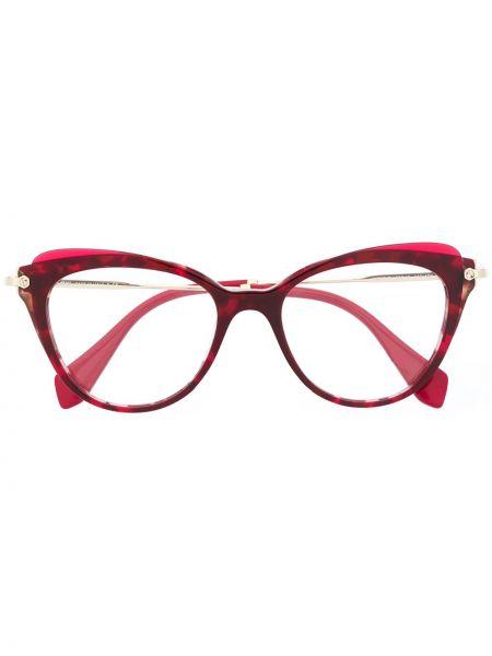 Прямые очки кошачий глаз хаки Miu Miu Eyewear