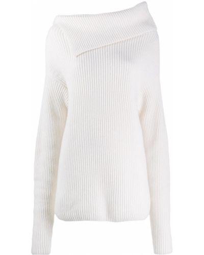 Асимметричный белый шерстяной вязаный джемпер в рубчик Nina Ricci
