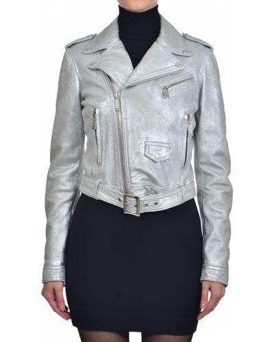 Кожаная куртка - серебряная Dsquared2