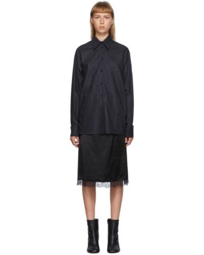 Кружевное черное платье макси с длинными рукавами Mm6 Maison Margiela