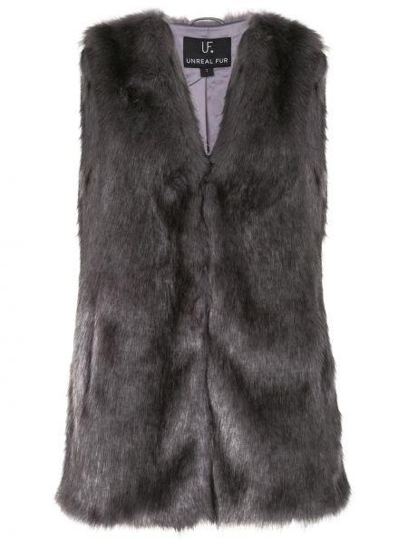 Czarna kamizelka z dekoltem w serek Unreal Fur