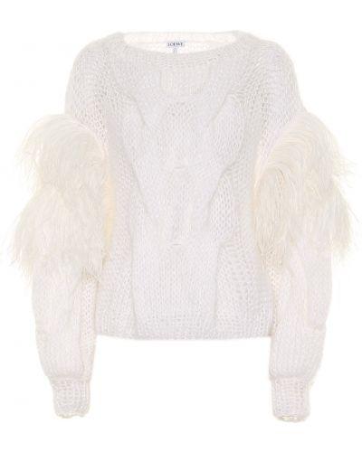 Biały sweter z moheru Loewe