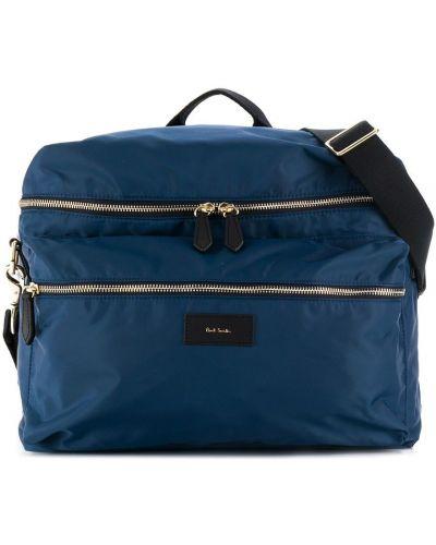 Золотистая синяя сумка на плечо на молнии с карманами Paul Smith Junior