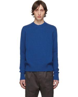С рукавами синий свитер с воротником с манжетами Studio Nicholson