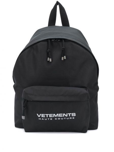 Czarny plecak z printem bawełniany Vetements