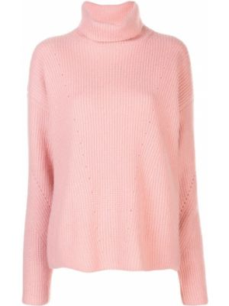 Кашемировый розовый свитер со спущенными плечами в рубчик Sally Lapointe