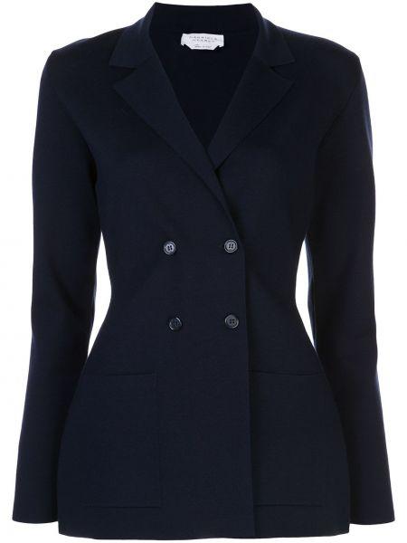 Приталенный синий пиджак двубортный Gabriela Hearst