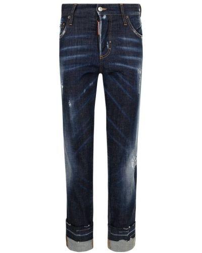 Укороченные джинсы с эффектом потертости с подворотами Dsquared2