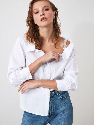 Biała koszula bawełniana z długimi rękawami Trendyol