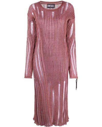 Платье миди в рубчик - розовое Diesel