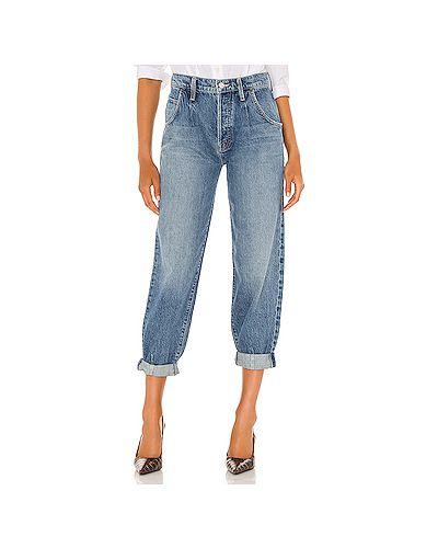 Хлопковые синие джинсы с карманами Mother