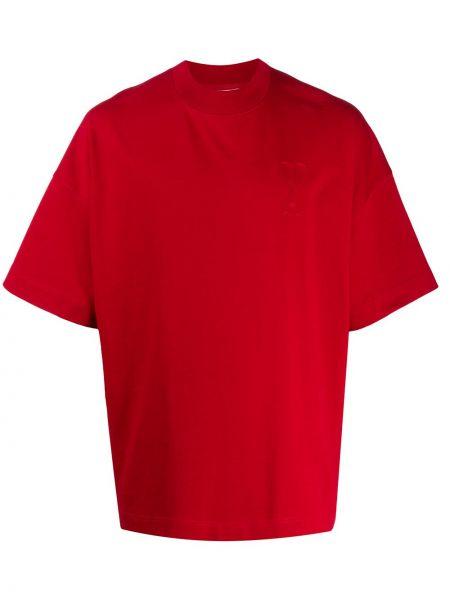 T-shirt bawełniany z haftem krótki rękaw Ami