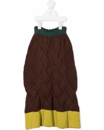 С завышенной талией ватная хлопковая желтая юбка Wolf & Rita