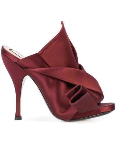 Красные мюли кожаные N21