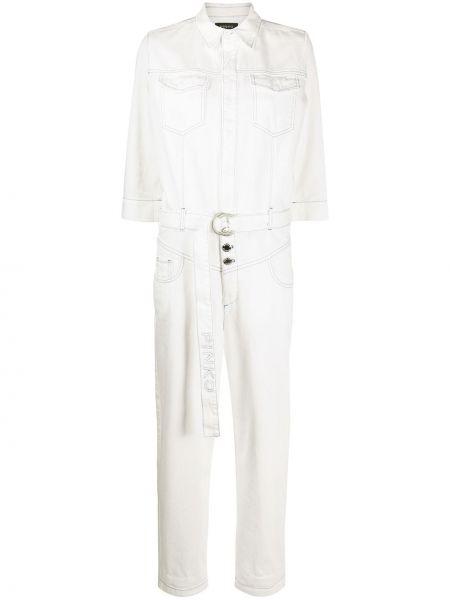 Белый классический джинсовый комбинезон с поясом Pinko