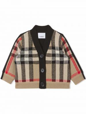 Beżowy sweter z dekoltem w serek Burberry Kids