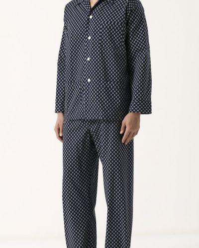Пижама шелковая с принтом Derek Rose