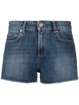 Хлопковые синие джинсовые шорты на молнии Red Valentino